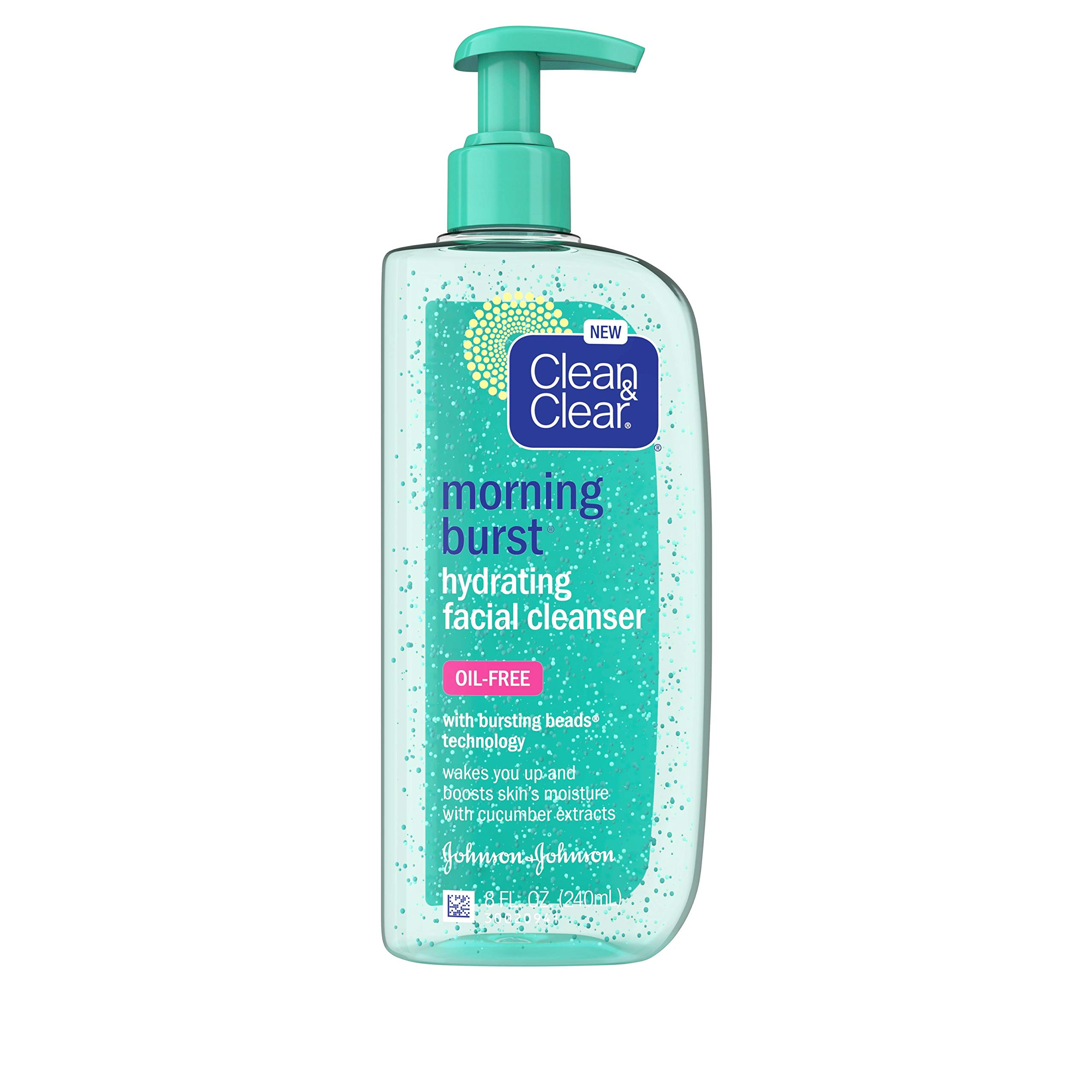 Clean & Clear Morning Burst Oil-Free Hydrating Facial Cleanser with Cucumber & Green Mango Extract, Gentle Daily Face Wash for All Skin Types, 8 fl. Oz, Pack of 1