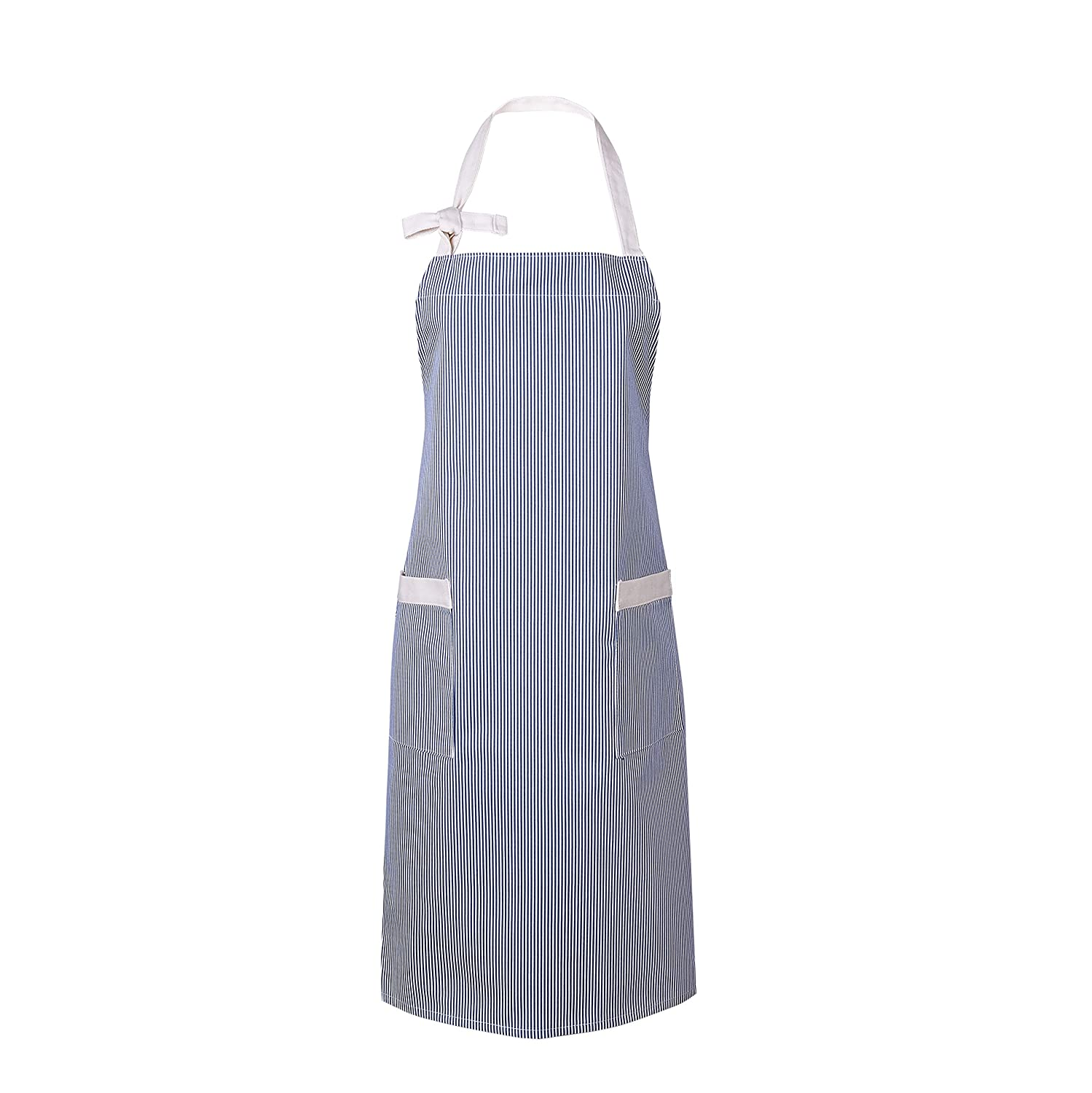 Blue and White Pinstripe Waitworth 1 Pack Cotton Canvas Bib Apron 2 Pockets Adjustable Neck Strap Apron Cooking Kitchen Crafting Artist Gardening Aprons for Women Men Adults