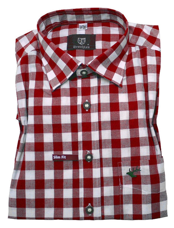 Orbis 0124 Slim Fit Trachtenhemd rot weiß kariert S bis XXL