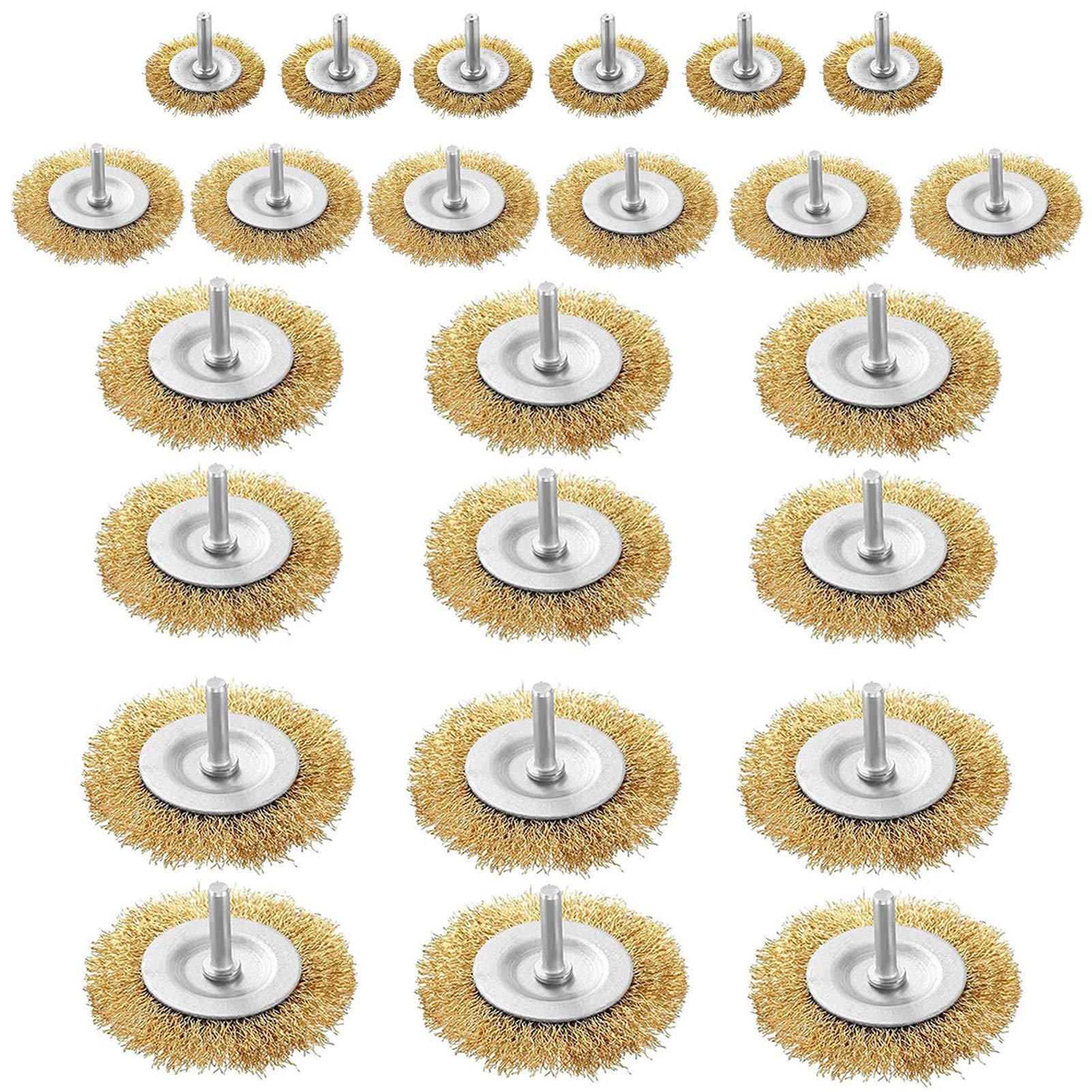24 cepillos de rueda para taladro de alambre - vástago 6mm