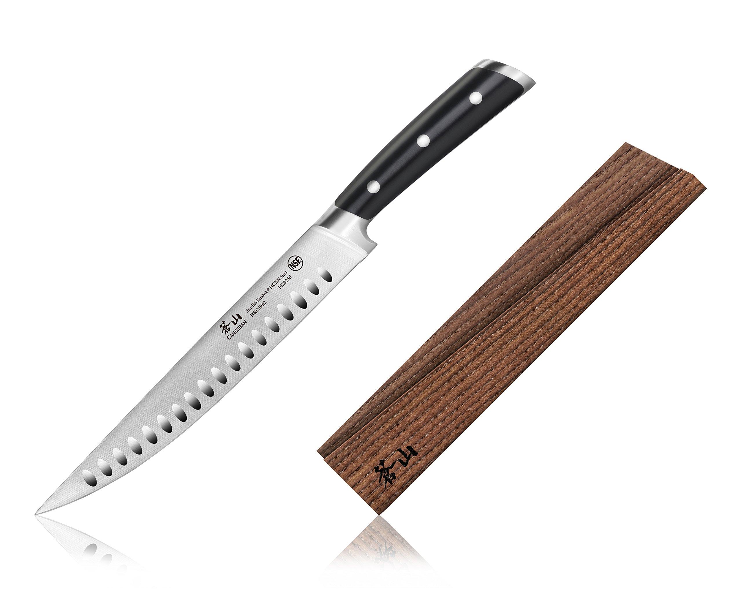 Cangshan TS Series 1020762 Swedish Sandvik 14C28N Swedish Steel Forged 9-Inch Carving Knife And Wood Sheath Set