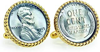 product image for 1943 Lincoln Steel Penny Rope Bezel Coin Cuff Links | United States Coins | Men's Cufflinks | Minted Only One Year
