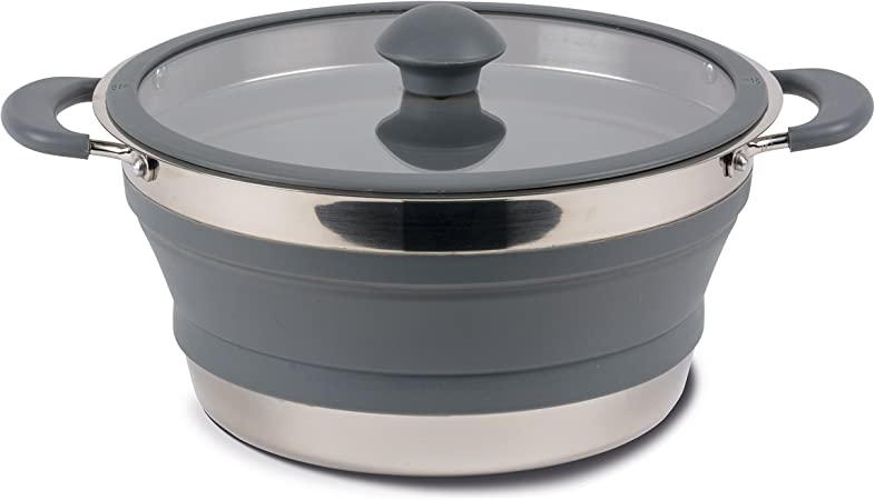 KMP Cocina – Barreño Plegable (Silicona Tazones Camping Plegable Gris Olla Saucepan Collapsible 1liter Gris