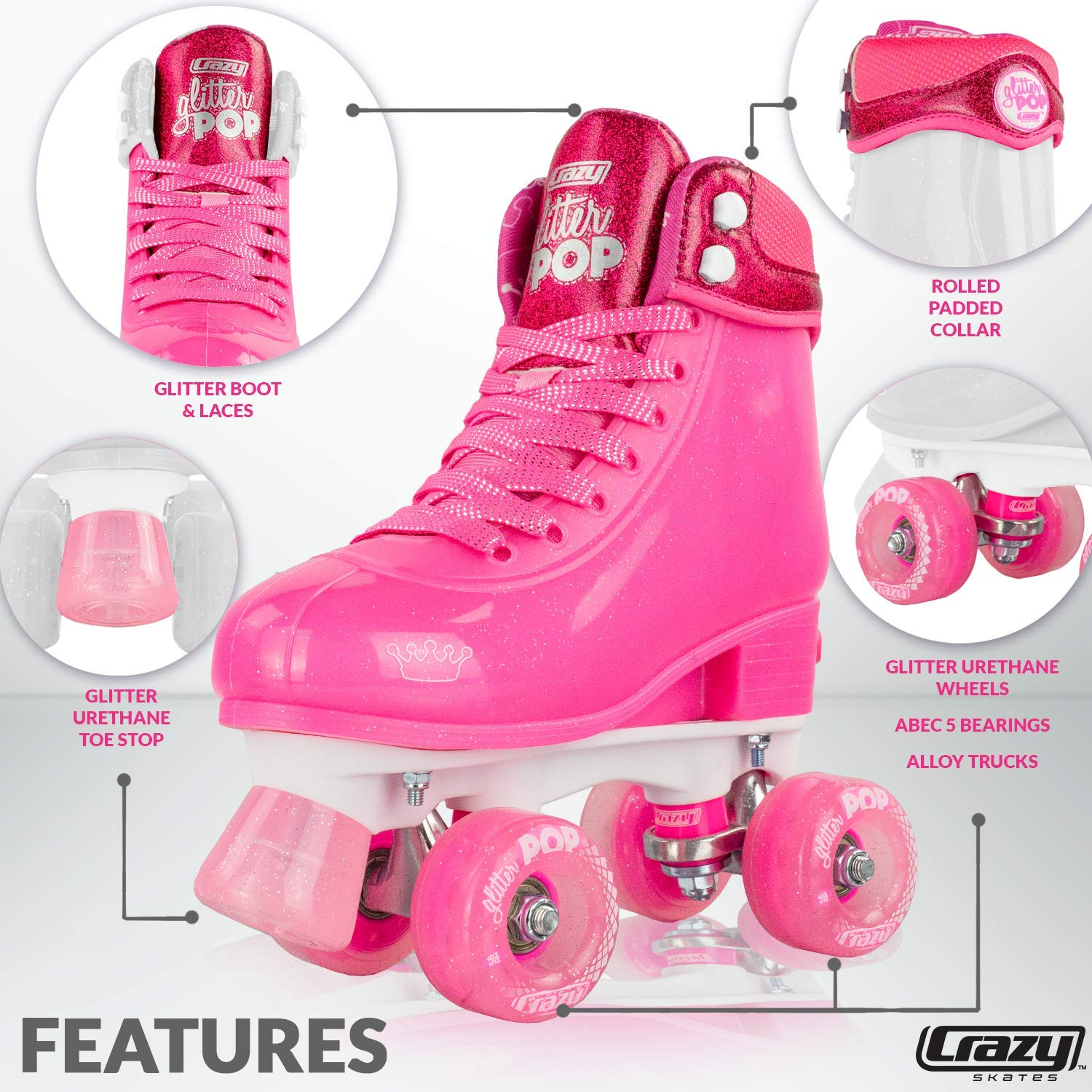 Amazon.com : Crazy Skates Glitter POP Adjustable Roller Skates for Girls and Boys | Size Adjustable Quad Skates That Fit 4 Shoe : Sports & Outdoors