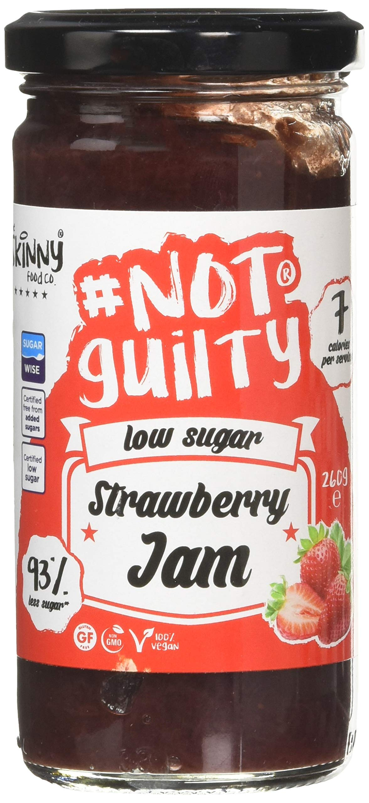 The Skinny Food Co Strawberry Jam | Smooth - Low Calorie - Low Sugar - Made with Real Fruit - No Preservatives - for Gym-Fitness Fans, Weight Loss Diet and Low Carb Diet | 260gr | Not Guilty