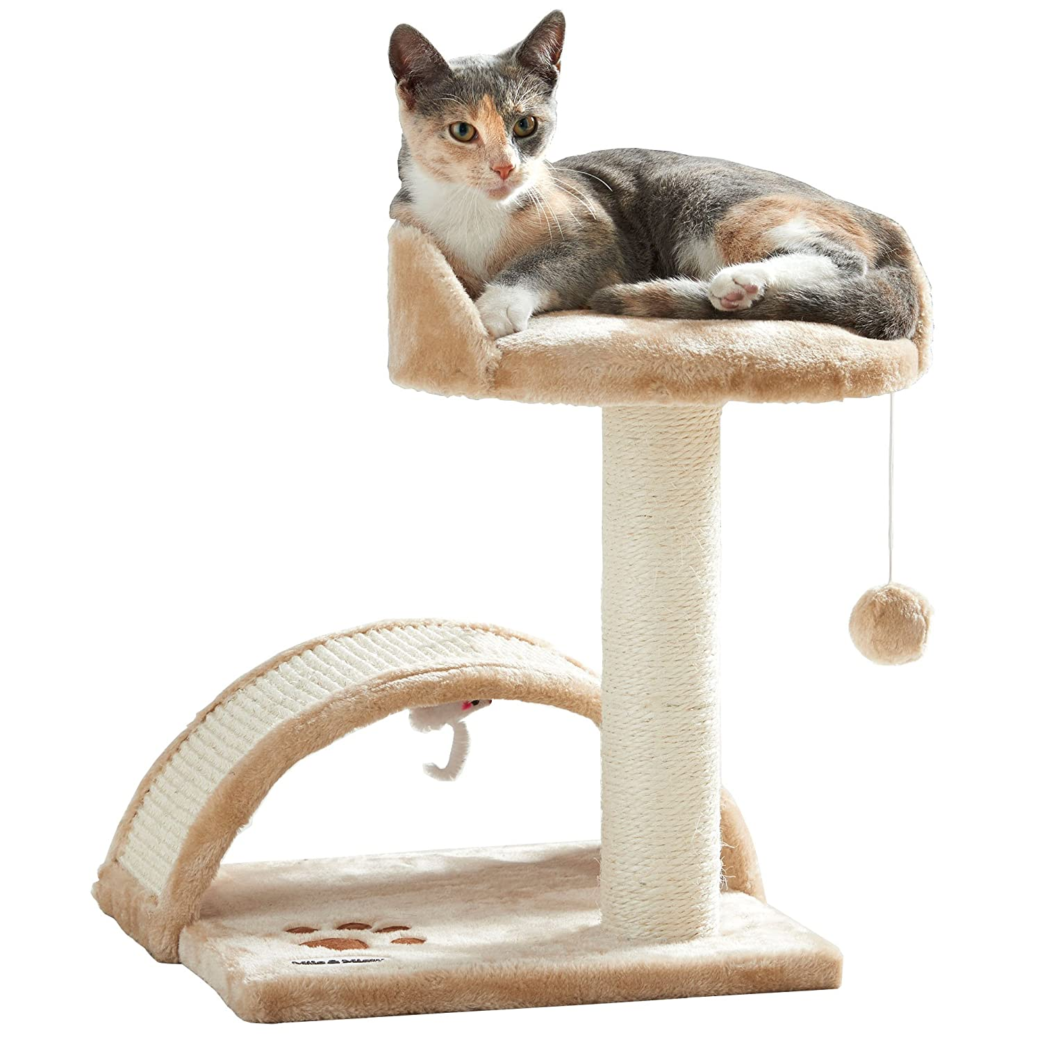 milo u0026 misty cat bed and scratching post activity tree with toys beige amazoncouk pet supplies - Cat Scratching Post