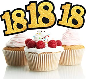 LINGPAR 18 Years Old Black Gold Cake Toppers Happy 18th Birthday Cupcake Toppers Eighteen Birthday Party Decoration Supplies 15PCS