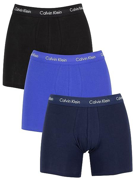 Calvin Klein Hombre Pack de 3 calzoncillos de algodón elásticos, Azul, Small