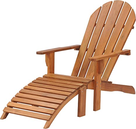 Teak Adirondack Outdoor Patio Chair With Footstool Made From Solid A Grade Teak Wood Kitchen Dining
