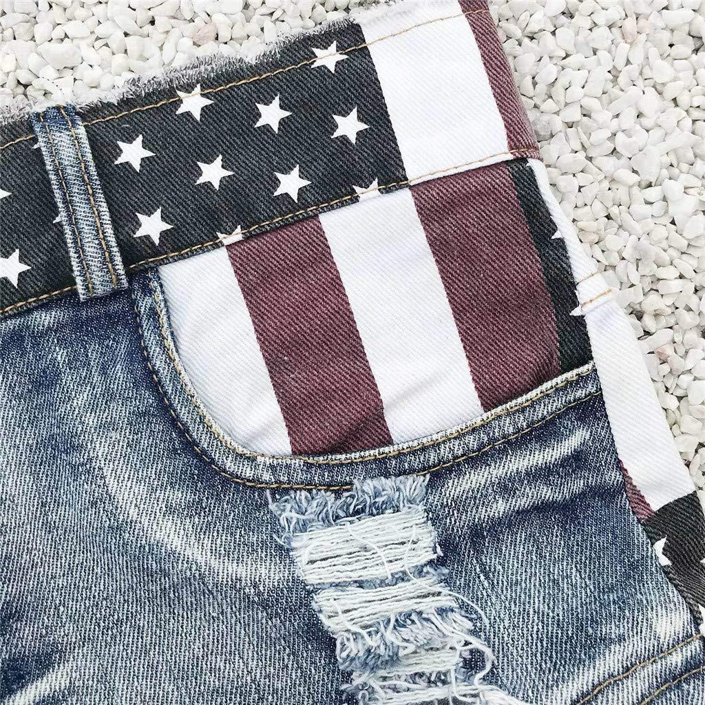 Women Fashion Denim Shorts Womens USA Flag Printed High Waist Hole Distressed Mini Jeans Shorts