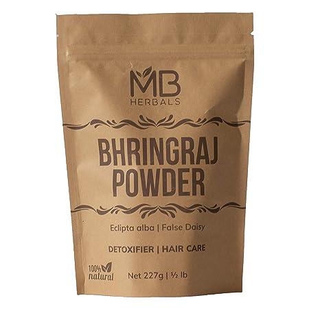 Mb Herbals Pure Bhringraj Powder 227g / 8.00 Oz / 1/2 Lb   100% Pure Bhringaraj Eclipta Alba Powder   Promotes Healthy Hair Growth by Mb Herbals