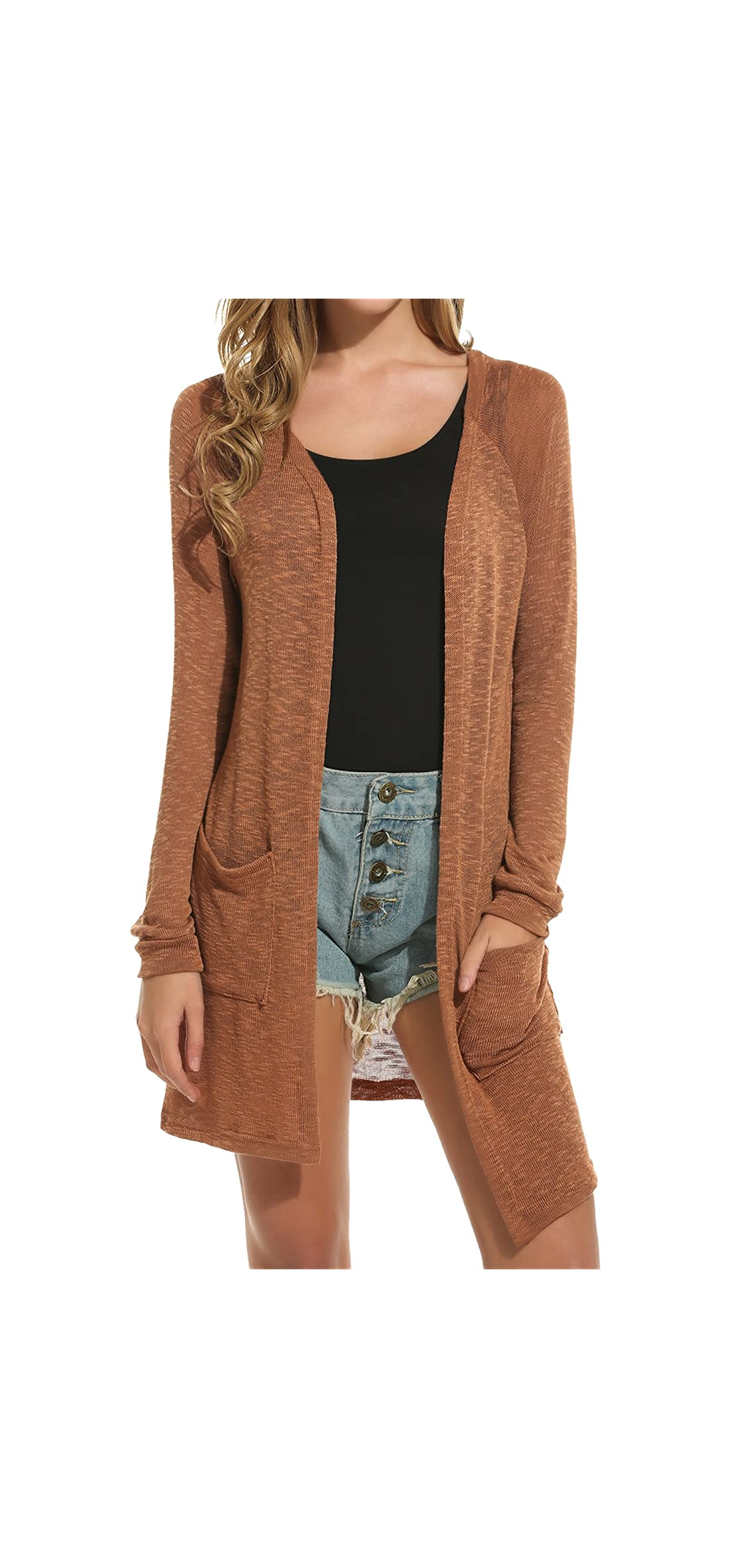 Womens Cardigan Sweater, Loose Casual Open Front With