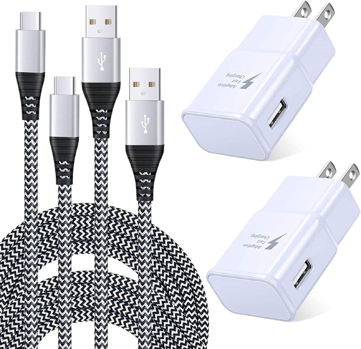 Adaptive Fast Charger Kit Set with USB Type C Cable 6ft, Qihop 2 Pack USB C Fast Charger Type C Charger Compatible with Samsung Galaxy S10/S10+/S10e/S9/S9 Plus/S8/S8+,Note 8/9,LG,HTC and More