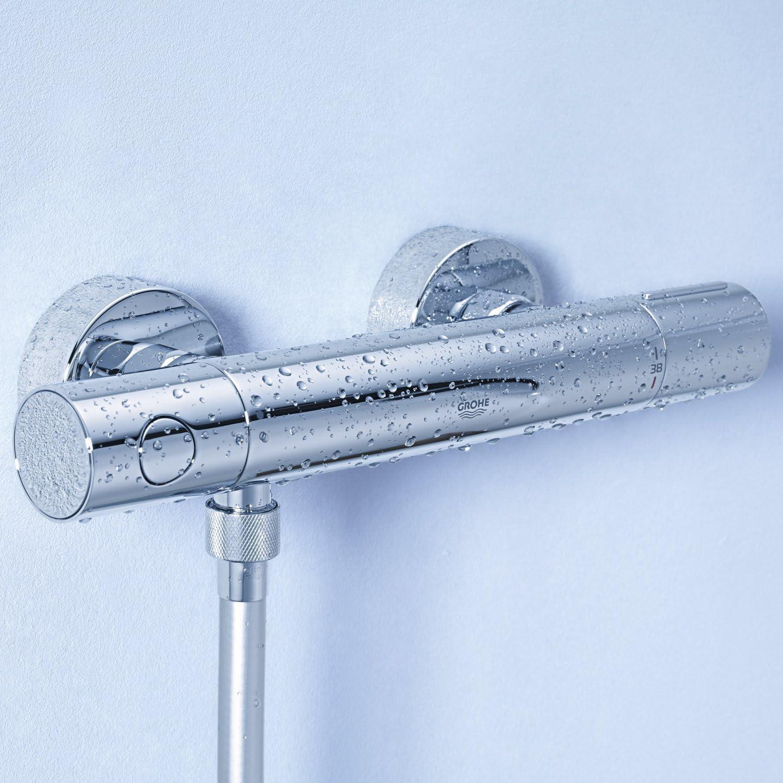 Poign/ée ProGrip avec structure molet/ée /& bouton /économie 34777000 Chrom/é Grohe Grohtherm 1000 Performance Mitigeur de douche thermostatique sans raccords