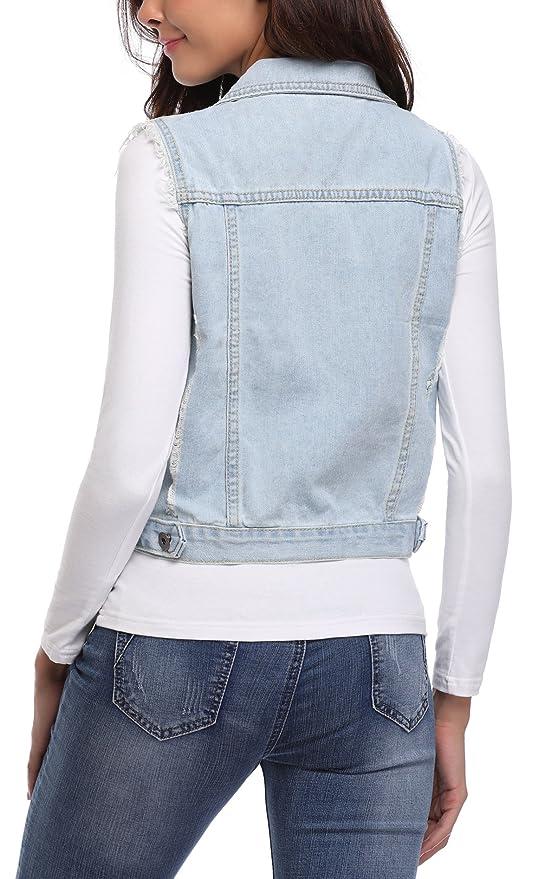 4063b170d65a44 MISS MOLY Damen Jeans Weste Denim Ärmellos Jeansjacke mit Ziertaschen:  Amazon.de: Bekleidung