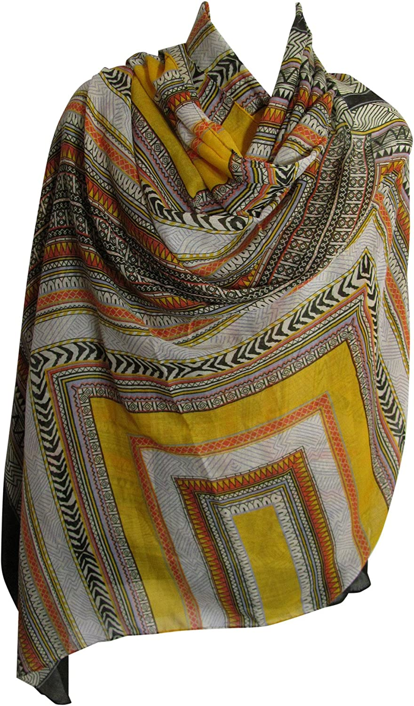 Indian Cotton//Poly Geometric Tribal Print Long Large Scarf Sarong Shawl JK354
