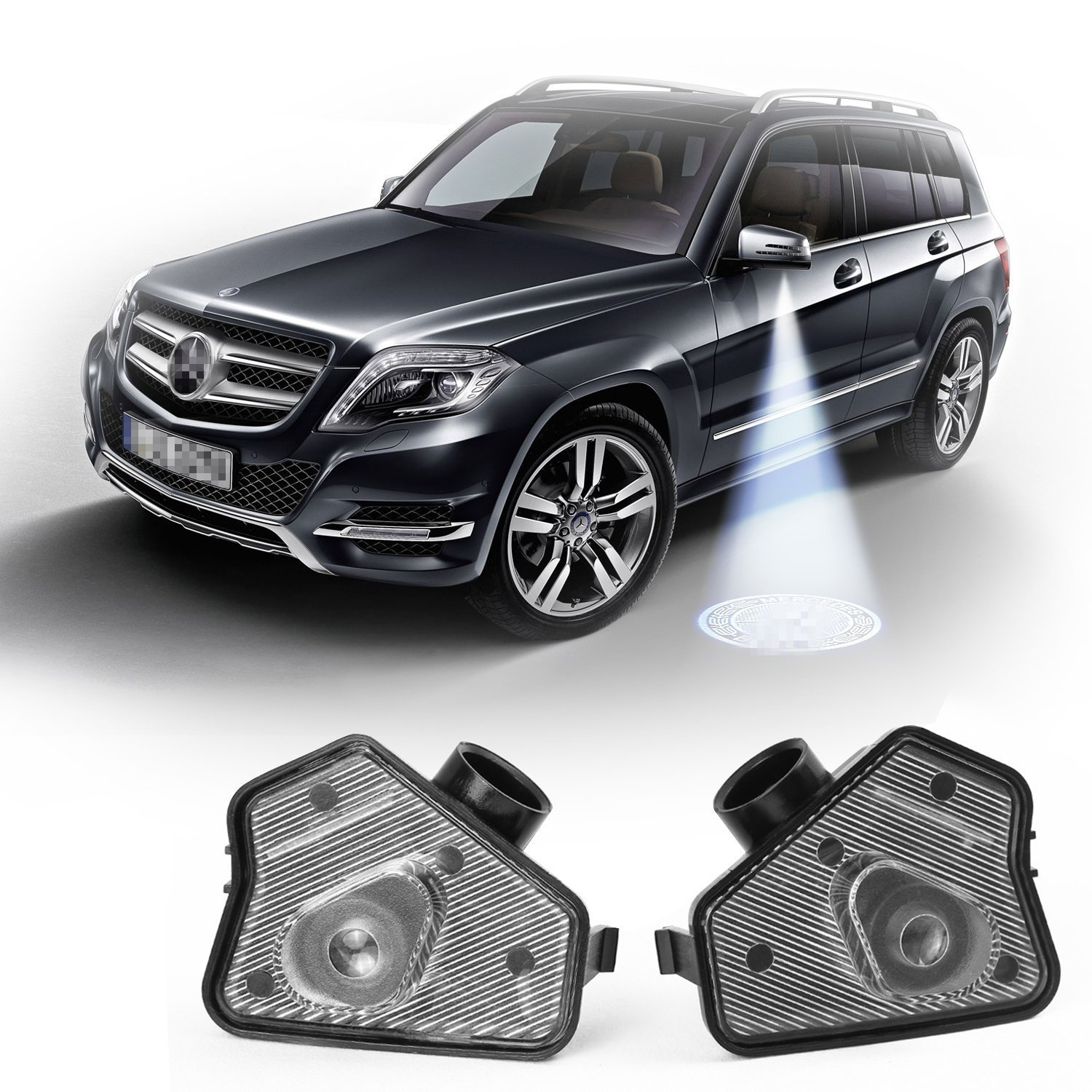2pcs SenledLED Side Mirror Puddle lamp car logo welcome Projector Ghost Shadow light for BENZ W176 W246 W204 W212 W221 W219 CLA GLK GLA (Mirror lights with logos For Benz) M2