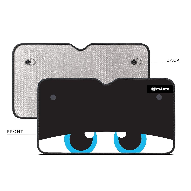 mAuto Powerful UV Ray Deflector Jumbo /& Reversible Silver Nerdy Eyes Car Windshield Sunshade
