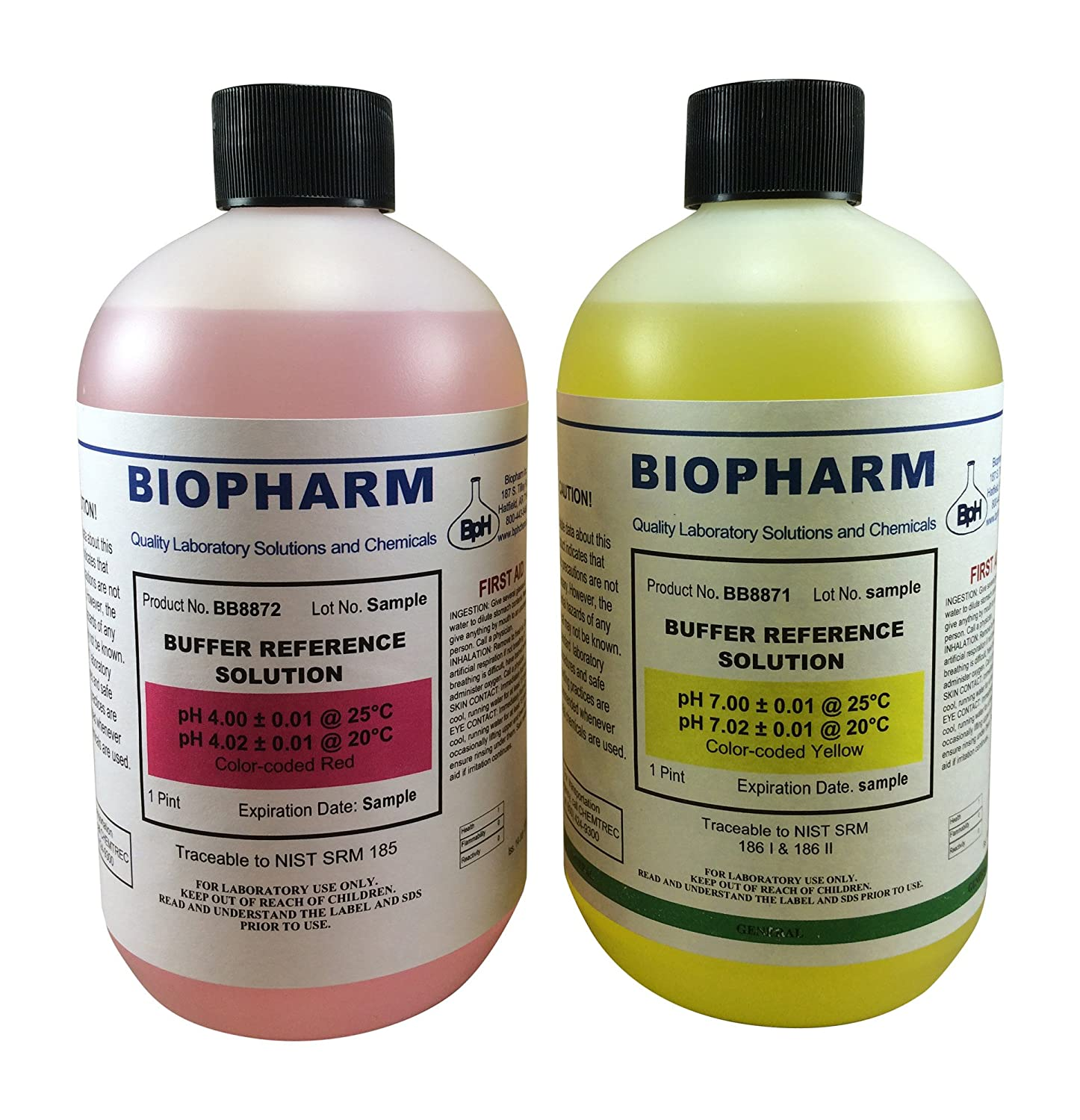 Biopharm pH Calibration Solution Kit (2) 16oz (500 ml) Bottles pH 4 and pH 7 Buffer NIST Traceable Reference Standards for All pH Meters