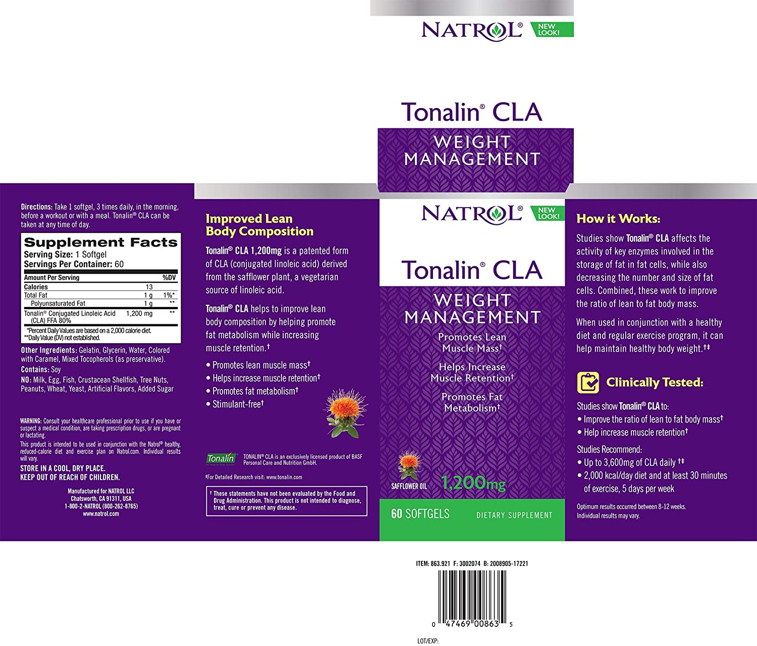 3c56661264aa9 Amazon.com  Natrol Tonalin CLA Softgels