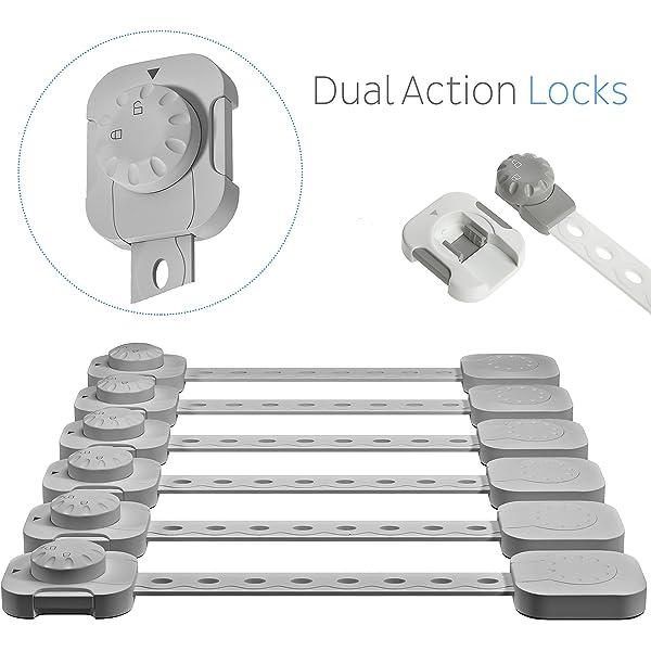 Trash Self Adhesive Child Safety Cabinet Locks CalMyotis Cupboard Locks Baby Proofing Locks for Door Drawer No Tools Needed Closet Fridge 6 Packs