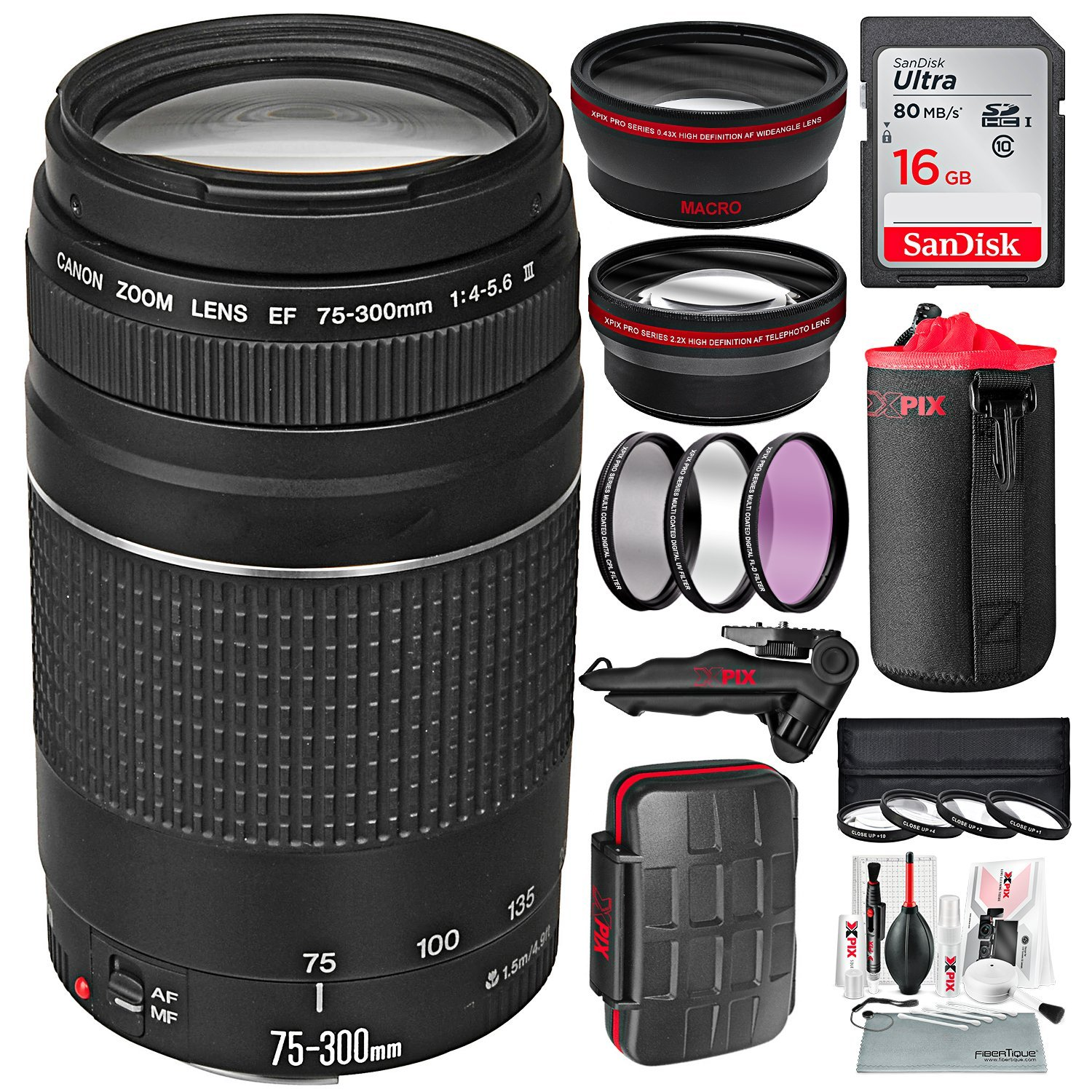 Canon EF 75-300mm f/4-5.6 III Telephoto Zoom Lens for Canon DSLR and 16GB + Professional Tripod + Wide-Angle Lens + Deluxe Accessory Bundle