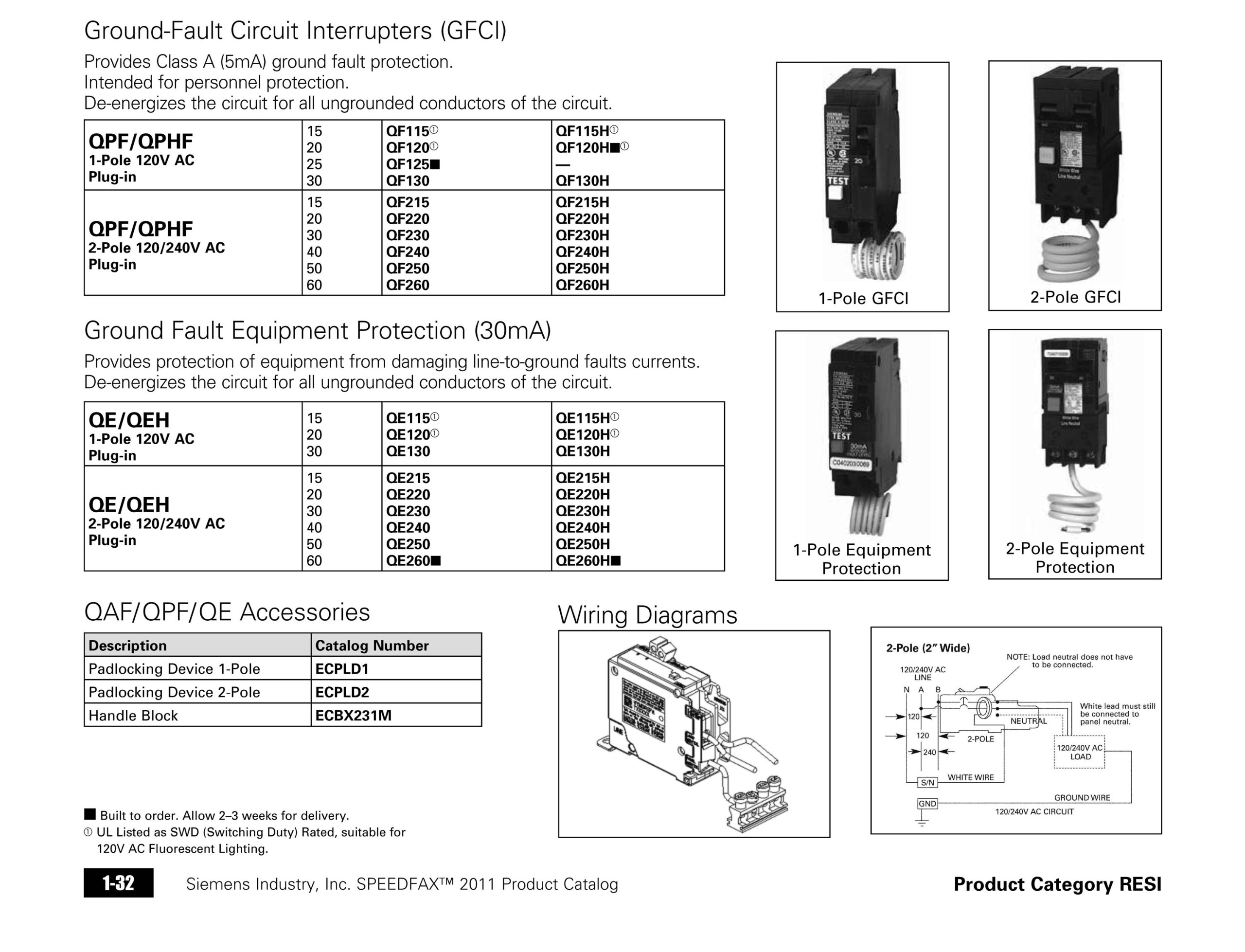 Siemens Qf220 20 Amp 2 Pole 240 Volt Ground Fault Circuit Interrupters Interrupter Discontinued By Manufacturer Tools