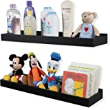 Wallniture Nursery Room Decor - Floating Book Shelves for Kids Room - 23 Inch Picture Ledge Tray Toy Storage Display Black Set of 2
