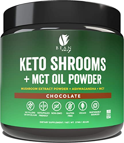 Bean Envy Keto Shrooms Mushroom Extract Root Powder MCT Oil Powder Ashwagandha Perfect for Keto, Immunity Boost, Weight Loss and Stress Management – Chocolate