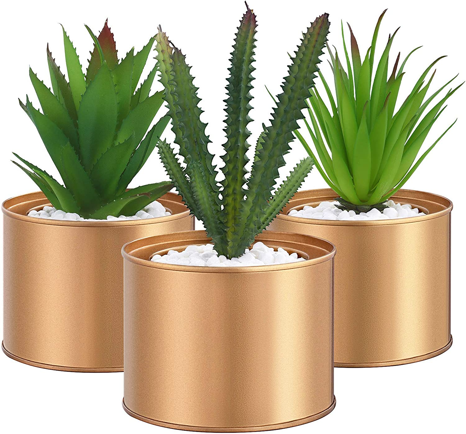 SONGMICS Set of 3 Potted Artificial Plants, Fake Houseplants, Decorative Plants for Living Room, Office, Bookcase, Table Decoration, Golden Pots, Green Plants ULAP204A01