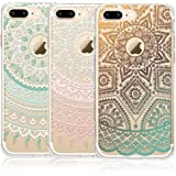iPhone 7 Plus Case, CarterLily [3-Pack] Ultra Thin Colorful Mandala Henna White Flower Cute Art Pattern TPU Rubber Flexible Slim Skin Soft Scratch Resistant Case for iPhone 7 Plus
