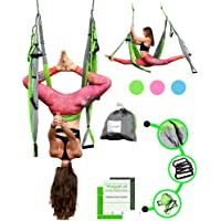 Aerial Trapeze Yoga Swing - [UPDATED VERSION] Gym Strength Antigravity Yoga Hammock - Inversion Trapeze Sling Exercise Equipment with Two Extender Hanging Straps - Blue Swings & Beginner Instructions