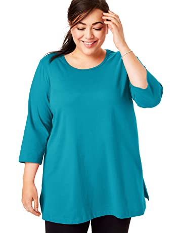 c1dd89d03df921 Woman Within Women's Plus Size Perfect Scoop Neck Three-Quarter Sleeve Tunic