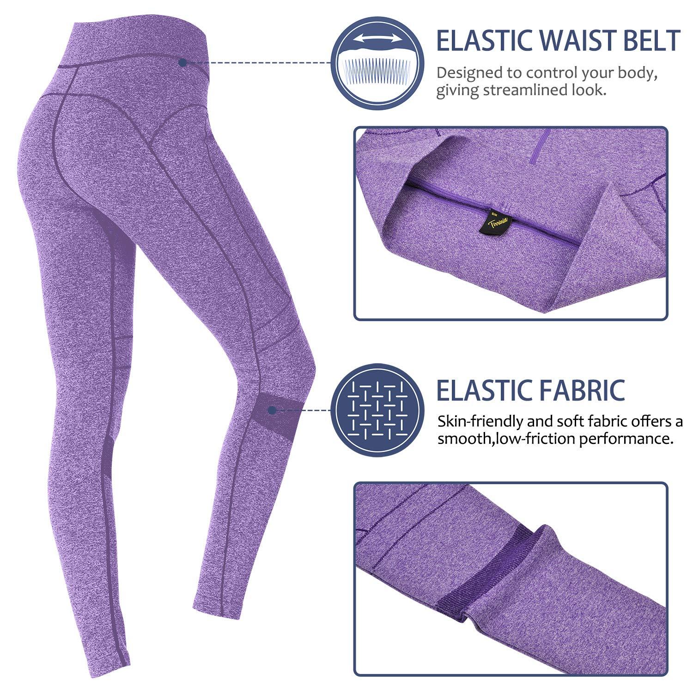 Tirrinia Women\'s Yoga Pants High Waist Tummy Control 4 Way Stretch Workout Yoga Leggings, Purple, L/XL