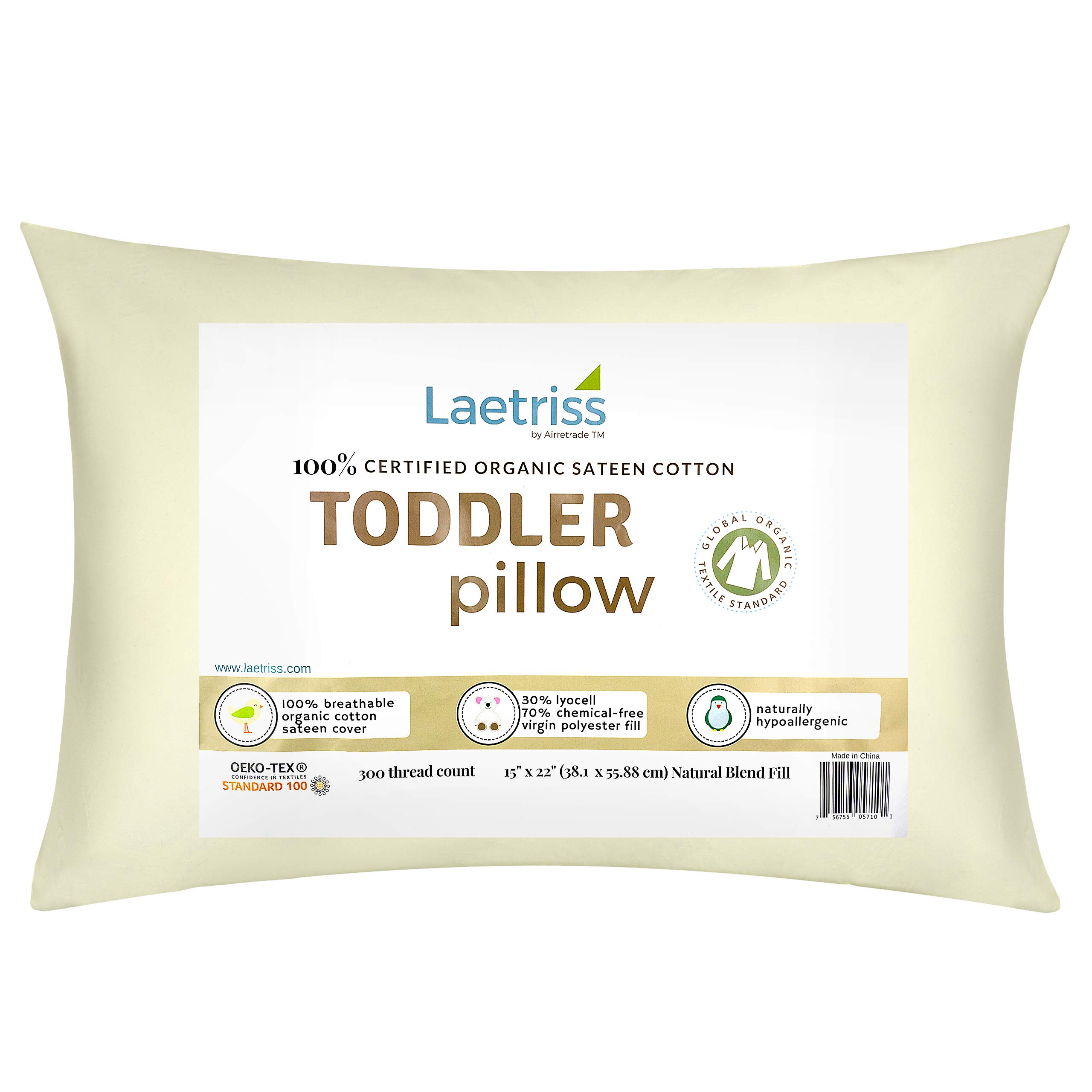 Laetriss Toddler Pillow Organic Cotton with Pillowcase | Hypoallergenic and Soft Baby Pillows and Case for Boy and Girl Toddlers | Small Child's Sleeping Headrest Set Size 15'' X 22'' | 300 Thread Count