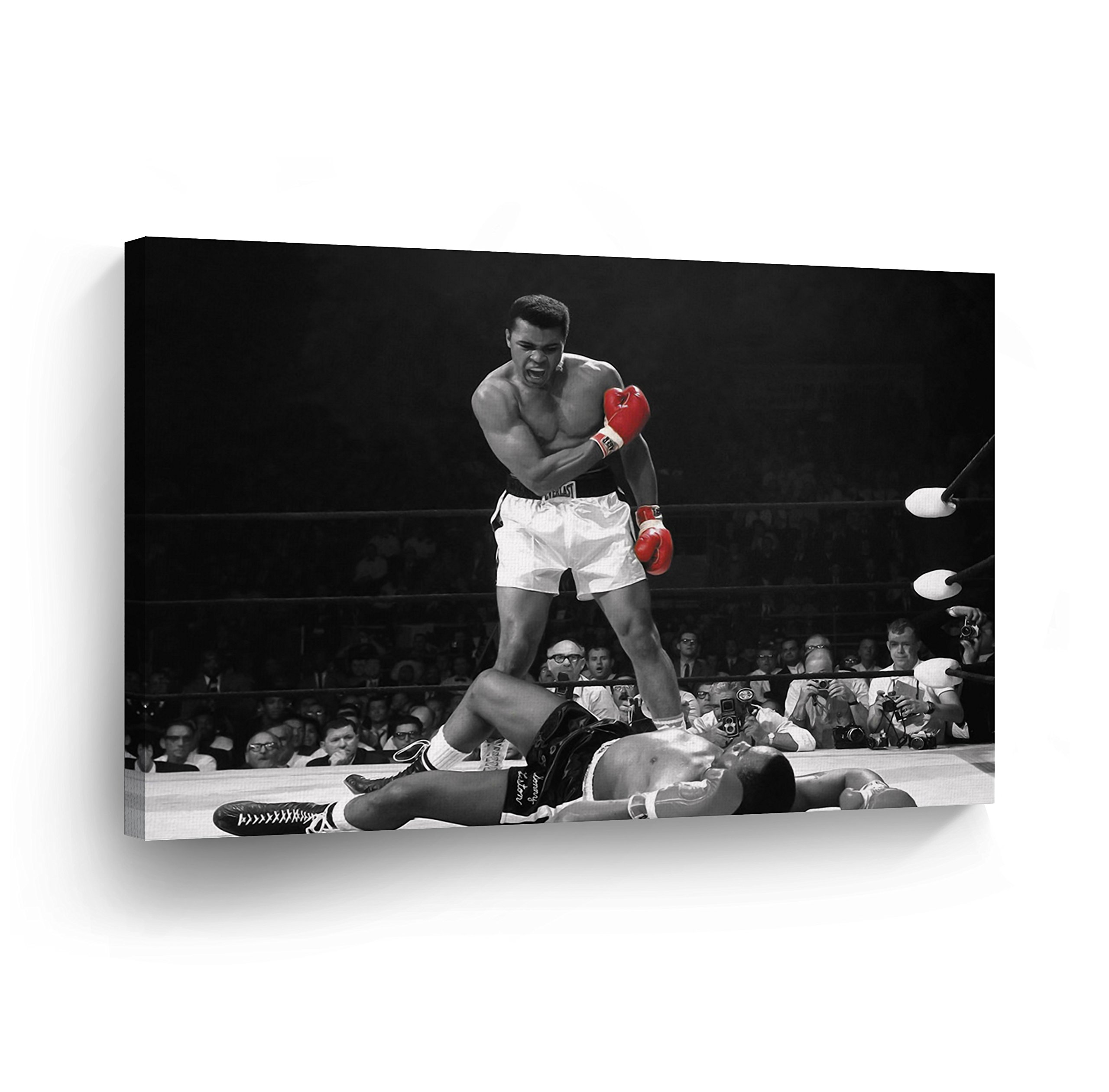 A Famous Picture - Muhammad Ali vs Sonny Liston/Red Gloves CANVAS PRINT First Minute First Round/Knockout/ Decorative Art Wall Decor Artwork- Ready to Hang -%100 Handmade in the USA - 15x22