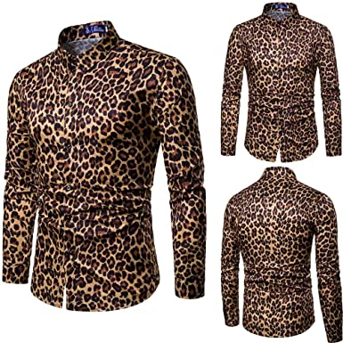 Hombre Camisa Casual Invierno otoño, Sonnena Camisa para Guapo Hombre Manga Larga Delgado Estampado de Leopardo Color Liso Moda Fiesta Deportivos al Aire Libre: Amazon.es: Ropa y accesorios