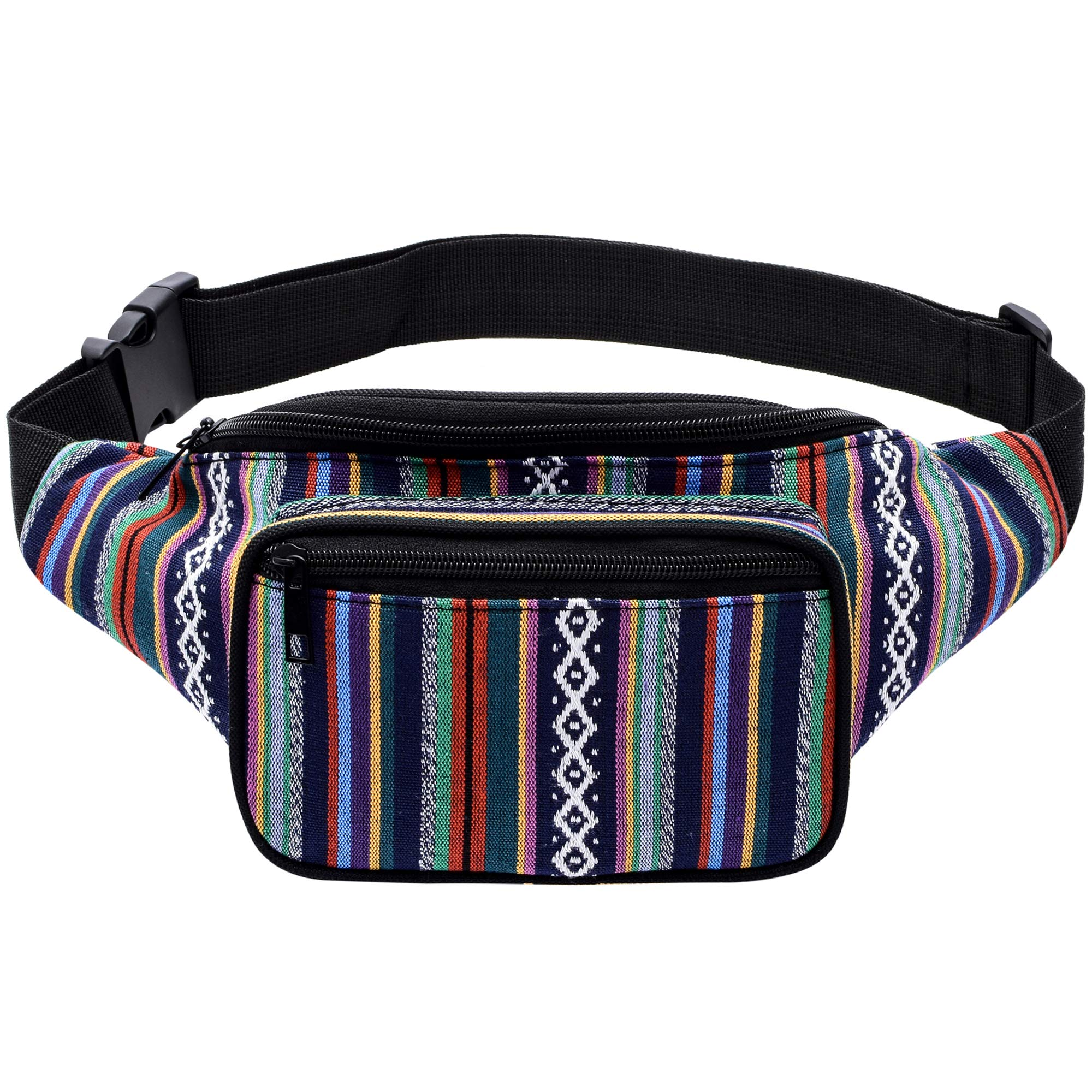 Kayhoma Boho Fanny Pack Stripe Festival Rave Bum Bags Travel Hiking Waist Belt Purse