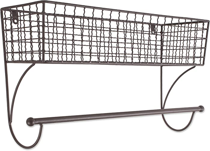 Home Traditions Z02224 Rustic Metal Wall Mount Shelf with Towel Bar, Large
