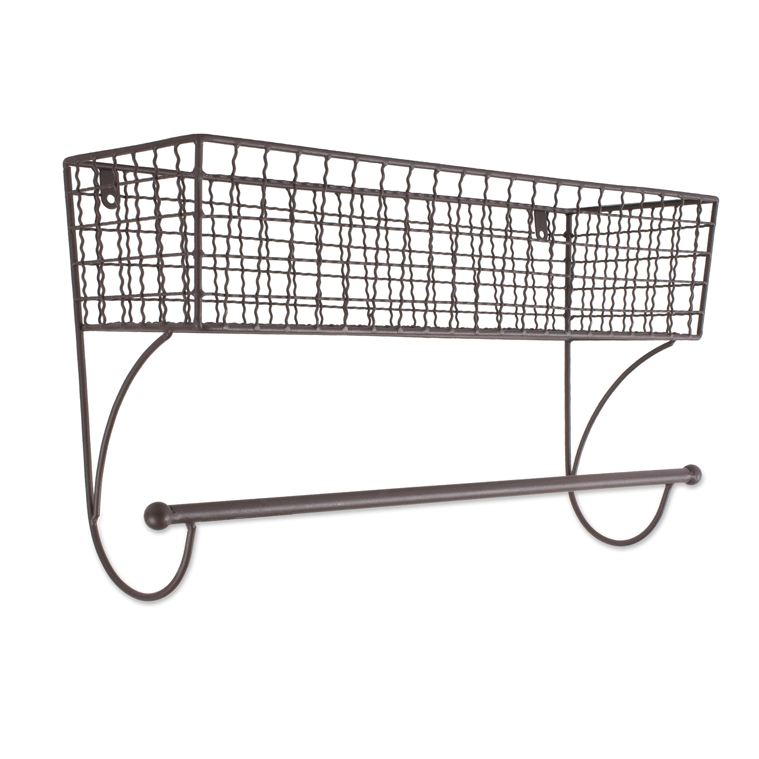 Home Traditions Z02224 Rustic Metal Wall Mount Shelf with Towel Bar, Large by Home Traditions
