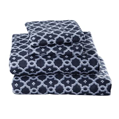Home Fashion Designs Dara Collection Super Soft Extra Plush Polar Fleece Sheet Set. Cozy, Warm, Durable, Smooth, Breathable Winter Sheets with Printed Pattern Brand (Queen, Arbour Navy)