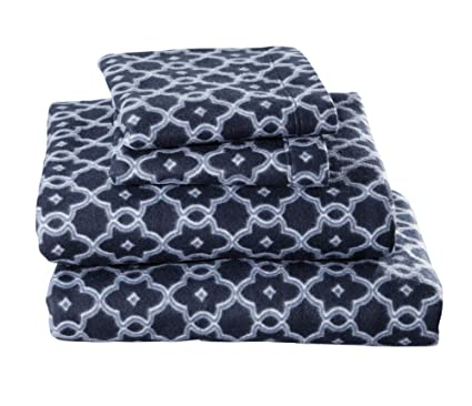 Dara Collection Super Soft Extra Plush Fleece Sheet Set. Cozy, Warm, Durable, Smooth, Breathable Winter Sheets with Printed Pattern (Full, Arbour Navy) best full-sized fleece sheets