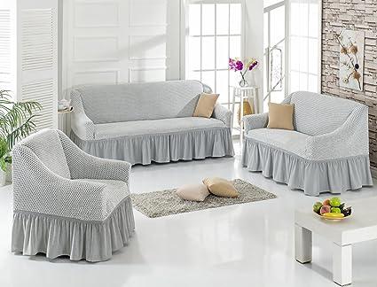 Stretch copridivani 1er + da + Set in crema (copridivani, divano ...