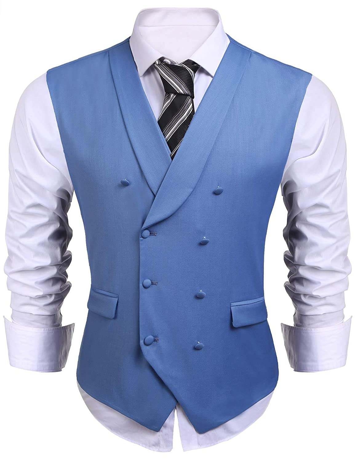 Jinidu Mens Formal Double-breasted V-neck Sleeveless Business ...