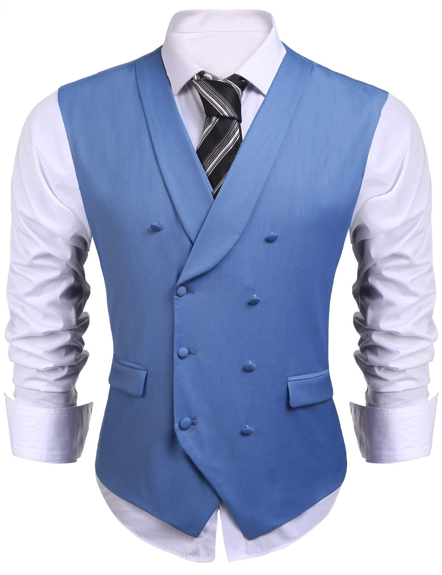 Jinidu Mens Formal Double-breasted V-neck Sleeveless Business Wedding Dress Suit Button Down Vests