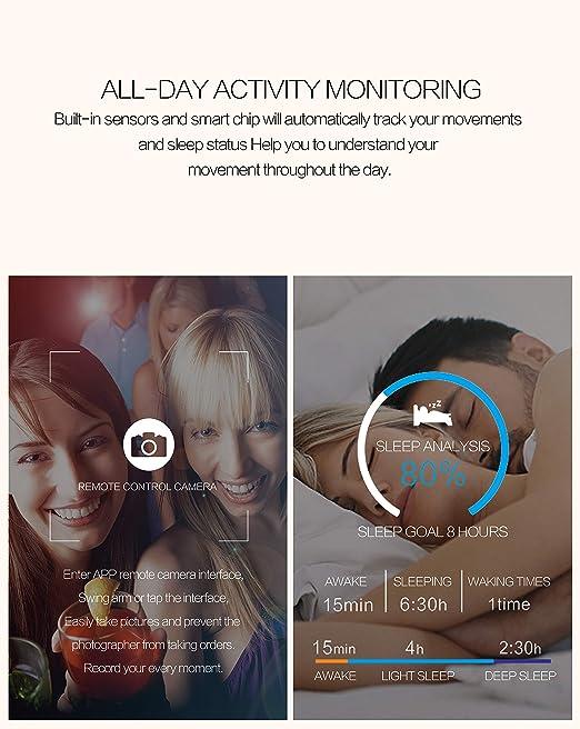 WETERS Fitness Tracker Actividad Tracker Reloj Monitor De Ritmo Cardíaco Impermeable 1.3 Pulgadas Pantalla A Color Monitor De Presión Arterial Pulsera ...