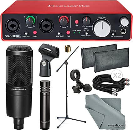 Focusrite Scarlett 2i4 interfaz de audio USB + Audio Technica AT2041SP paquete de micrófono con soporte de micrófono + cable + paño de fibra tique ...: Amazon.es: Instrumentos musicales