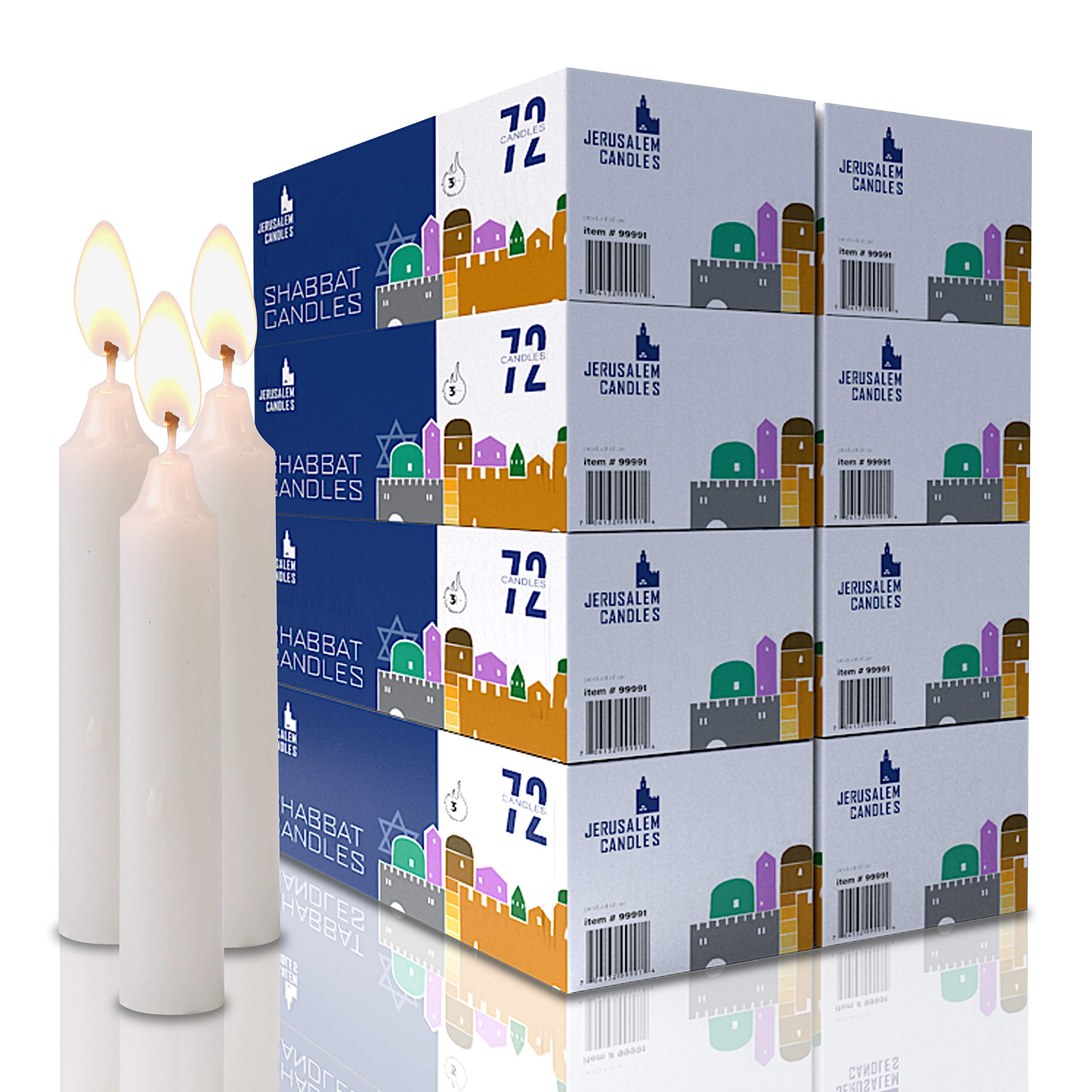 Shabbat Candles - Traditional Shabbos Candles - 3 Hour - 8-Pack x 72 Count, (576 Candles)