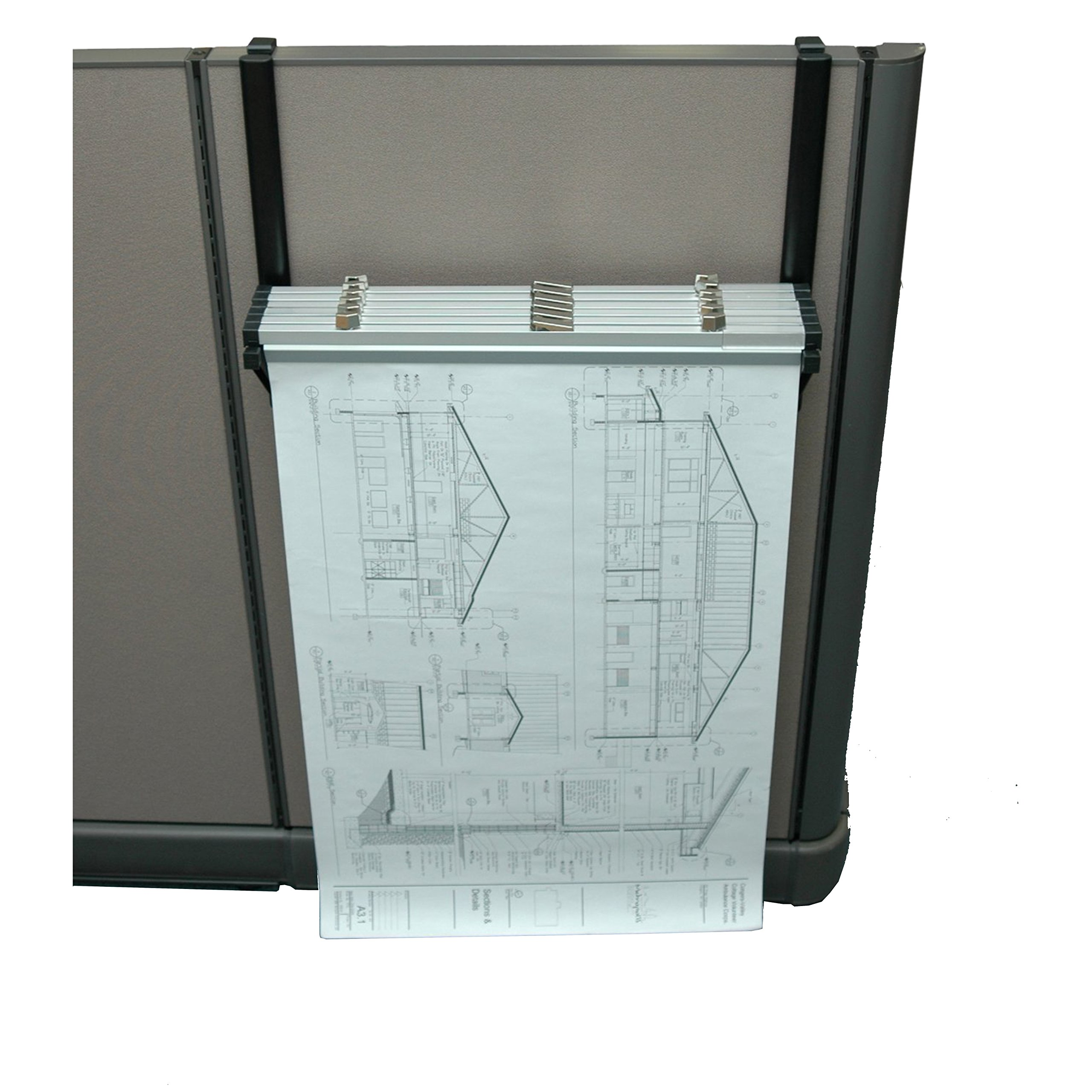 Adir Corp. Cubicle Rack for Blueprints - Plans, Black with 6 18'' File Hanging Clamps by Adir Corp.
