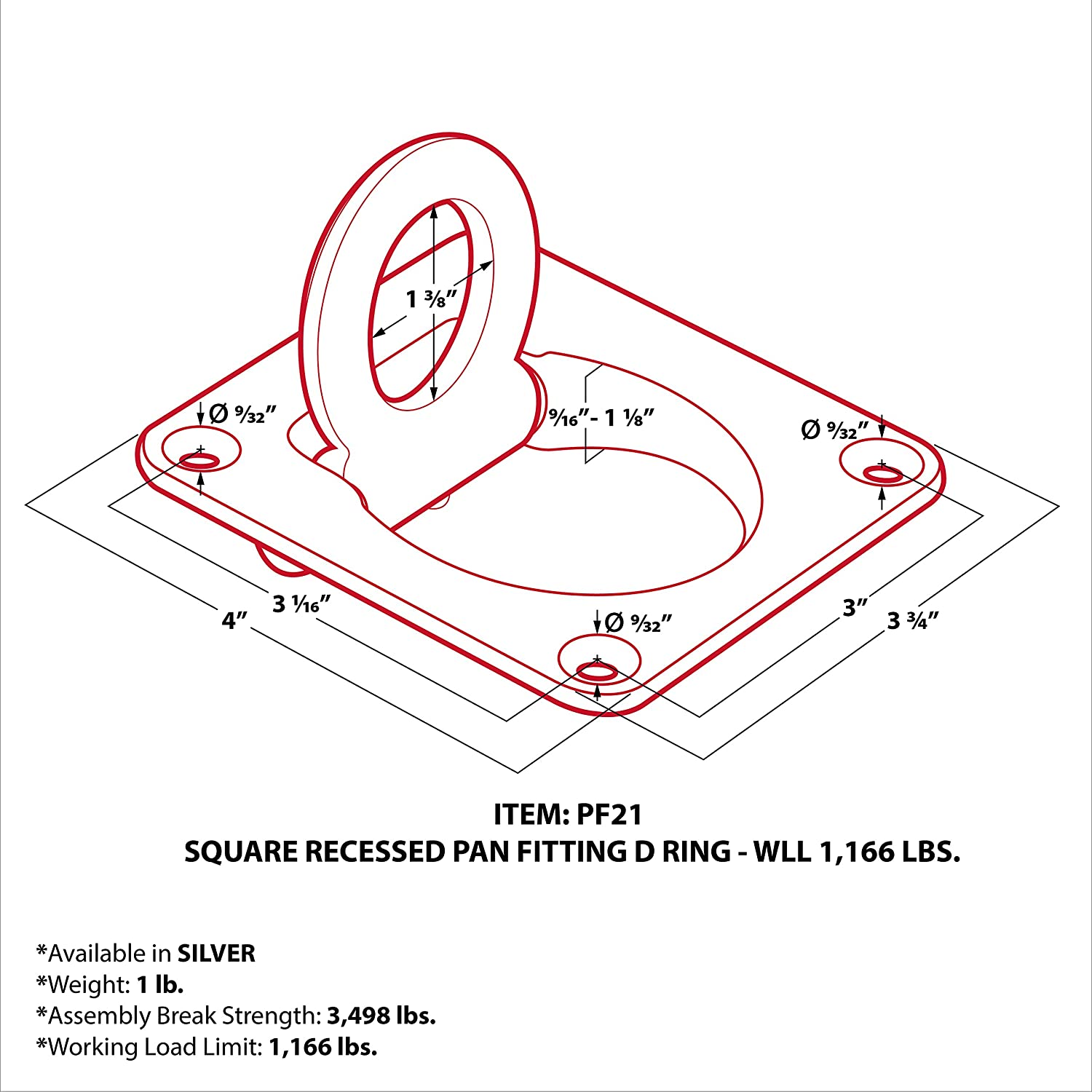 Four Recessed Tie Down D Ring Trailer Cargo Load Tiedown Mate Utility Wiring Diagram Free Picture Anchors Square Floor Pan Fitting Galvanized Steel Countersunk Bolting Holes